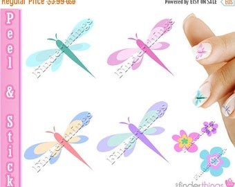 ON SALE Dragonfly Dragonflies Nail Art Decal Sticker Set DGN901