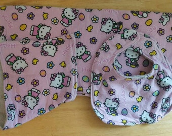 Hello Kitty Easter Baby Gift Set, Receiving Blanket, Burp Cloth And Bib Size 3-6 Months, Hello Kitty Baby Gift, Hello Kitty Bib, Hello Kitty