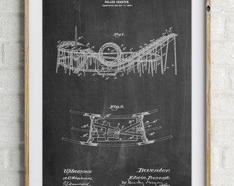 Coney Island Loop the Loop Roller Coaster Patent Poster, Amusement Park, Vintage Carnival, Roller Coaster, Vintage Wall Art, PP0772