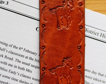 Horse Bookmark, Hand Tooled Leather Bookmark, Handcrafted Running Horse Marker, Handmade Bookmark, Leather Marker, Unique Horse Gifts