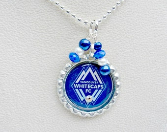 Vancouver Whitecaps FC Soccer Necklace, Vancouver Whitecaps Jewelry, Vancouver Whitecaps Necklace, Soccer Jewelry, Soccer Necklace, Soccer