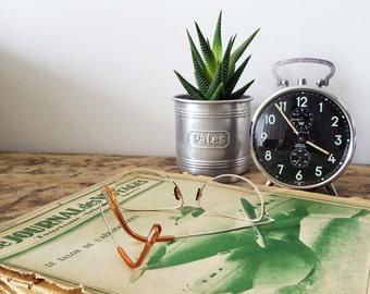 1950's Vintage French BAYARD Alarm clock , Black Mint green/RETRO Alarm Clock / French decor/Dad gift/ Retro decor