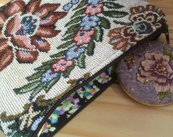 Handmade Tapestry and Real Suede Leather Clutch / Make up Bag Pouch