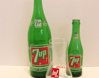 2 Vintage 7 Up Bottles 28 and 7 Ounce and 7 Up Goblet Vancouver and Toronto