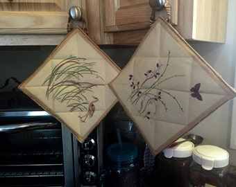 LABOR DAY SALE! Loon & Butterfly Pot Holder Duo