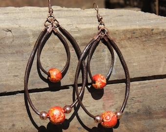 Double loop dangle earrings