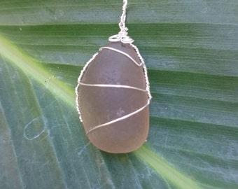 RARE gray color seaglass pendant wrapped in sterling silver wire