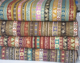 Boho Bohemian Colorful Stripe Floral Cotton Linen Fabric for Clothing, Dress, Bag Purse, Wallet ETC-- 1/2 yard