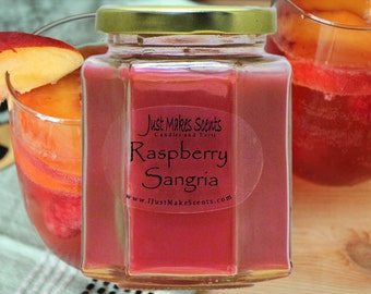 Raspberry Sangria Candle - Scented Soy Candle - Free Shipping on Orders of 6 or More - Blended Soy Candles - Raspberry Fruit Wine
