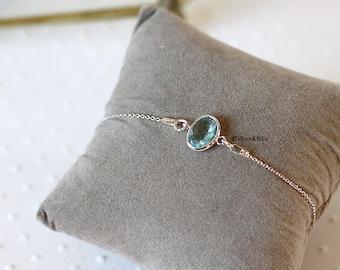 Bracelet Blue Rain, Silver 925 and Sky Blue Crystal