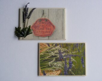 Lavender print on wood
