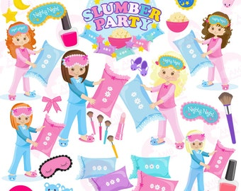Slumber party, girls sleep over, pyjama party clipart, Birthday party clipart, commercial use, digital clip art, AMB-1234