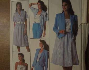 Simplicity 8981, size 12, separates, sewing pattern, craft supplies, unlined jacket, camisole, skirt, shirt, pants, misses, womens
