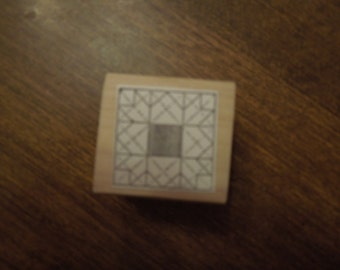 """Art Deco or geometric design rubber stamp, 1"""" square, papercrafts, scrapbooking, craft supplies"""