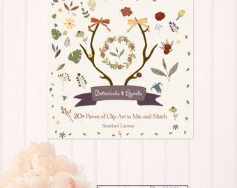 Botanical & Laurels Vector Clip Art Set - Standard License- CA002
