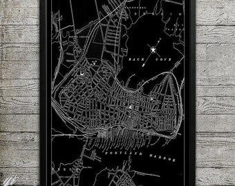 Map of Portland ME Print, Wall Decor for your Home or Office