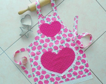 Girls Apron Pink, kids kitchen craft art play apron, childs lined cotton apron with heart lace pocket, pink apples & polka dots, Juicy Fruit