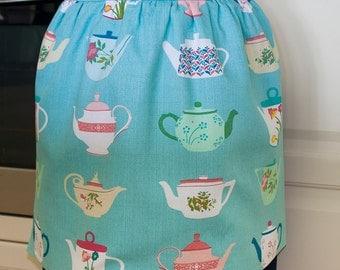 Half Apron Vintage Teapots, womens blue retro Tea time kitchen hostess baking housewife apron/pinny, lined 50s Teapots print, Mum gift apron