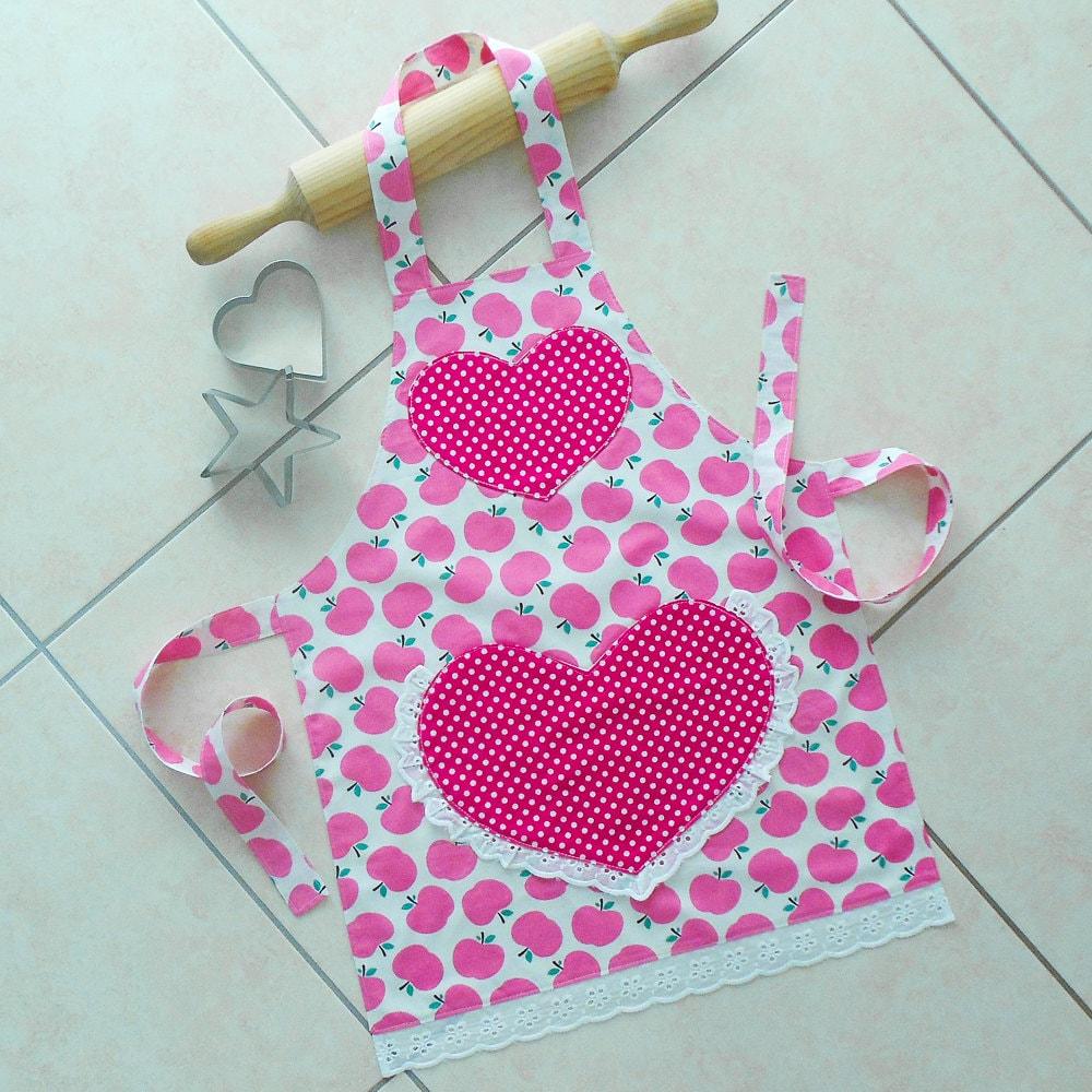 Girls Apron Pink Kids Kitchen Craft Art Play Apron By BobsiDi