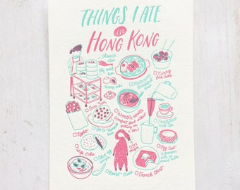 Things I Ate in Hong Kong Letterpress Postcard