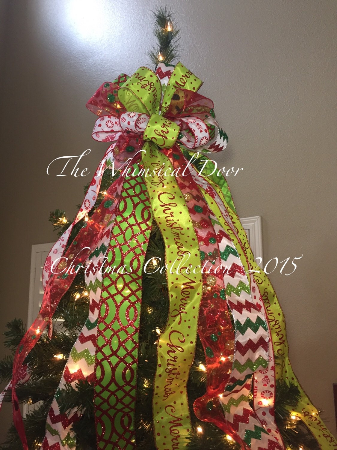christmas tree bow tree topper bow whimsical bow tree topper. Black Bedroom Furniture Sets. Home Design Ideas