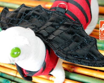 made to order Ferrets / Small pets Harness- Red and Black Striped Dragon