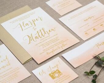 Watercolor Invites, Wedding Invitation, Invitation Set, Whimsical Wedding, Invitation suite, Modern Wedding Invite, Peach and Gold Wedding