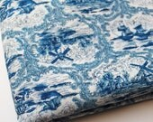 Blue Toile Fabric Dutch Windmill Vintage 30 inch piece Over 3/4 Yard Ships at Sea French Country Sewing