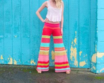 KNIT WIDE leg palazzo stripe flare leg bell bottom gypsy hippie retro festival tropical resort beach pants