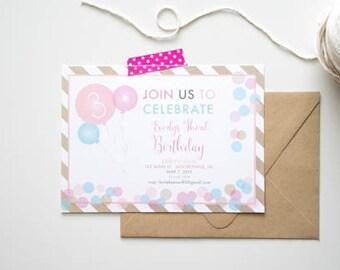 Girls Pink Balloon Birthday Party Printable Invitation. Pink and blue balloon party. Printable ballon invitation