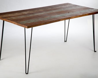 Dining table recycled wood and metal