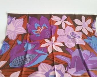 Scandinavian Retro fabric. Design Almedahls floral brown - purple 70s