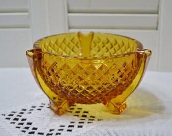 Vintage Amber Glass Ashtray Footed Bowl Diamond Pattern Smoke Smoking Accessory PanchosPorch