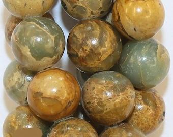 """Natural Impression Jasper Beads - Round 10 mm Gemstone Beads - Full Strand 16"""", 42 beads"""