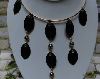 Rainbow Hematite Waterfall black Scalemail gold collar necklace