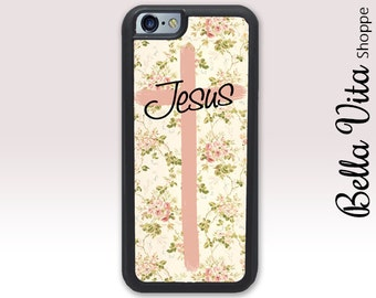 Floral Jesus Christian Cross iPhone 6 Case, Christian iPhone 6S Case, Cross iPhone Case, Floral Cross 1229 I6S