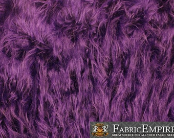 """Faux Fur Fabric Long Pile Gorilla PURPLE / 60"""" Wide / Sold by the yard"""