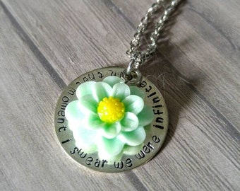 In this moment, I swear we were infinite stamped necklace with acrylic mint flower