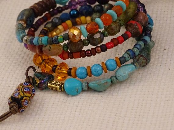 Memory Wire-Large-Bracelet-Multi color-Bohemian-Hippie Wrap Bracelet-Turquoise-African Trade Beads-Millefiori-Brass-Carnelian Sol Designs