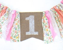 Peach Pink Birthday Banner HighChair High Chair Fall Pumpkin Floral Lace Onederland First ONE Shabby Chic Floral Garland Tea Party Prop