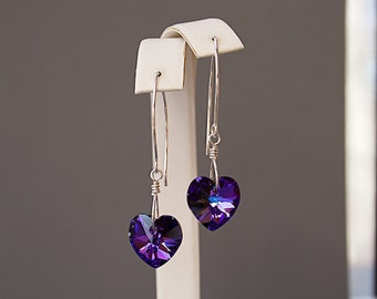 Purple Heart Earrings with Swarovski Crystal Hearts - Mothers Day Gifts