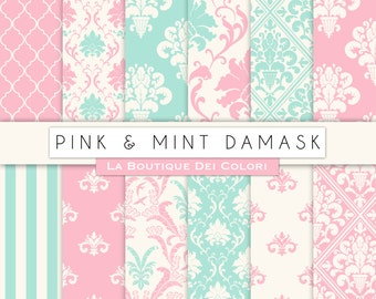Cute pink and Mint damask digital paper. Pink Green digital paper pack of wedding damask backgrounds patterns for commercial use clipart