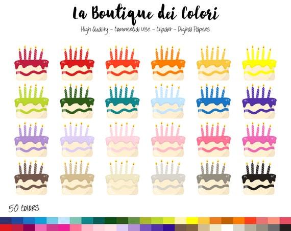 50 Rainbow Birthday Cake Clipart Birthday Party Digital