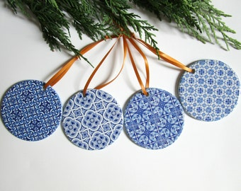 Blue Tile Ornament Set, Blue & White Christmas Tree Ornaments, Cottage Chic Christmas Decor, Unique Gift for Her, Housewarming, Hostess Gift