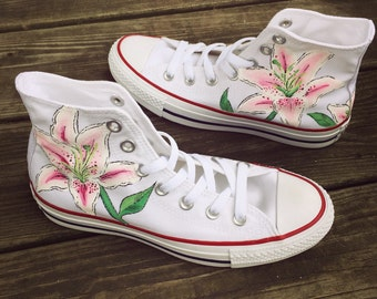 Custom Hand-Painted Lily Flower Converse Shoes