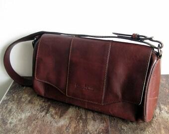Italian Vintage leather handbag GIANNI CONTI Leather Satchel Italian purse tan brown leather shoulder bag leather purse Ladies pouch