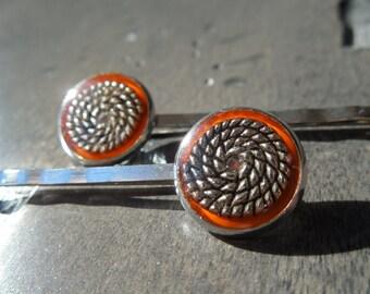 Orange hair pins, orange bobby pins, orange hair jewel, orange hair accessory,  orange barrette, orange hair pins set