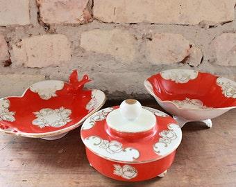 vintage 50s bowls, orange,gold,white,bird,silesia,german china