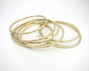 gold stacking bangle, hammered bangle