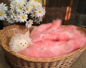"Hand Carded Merino, Angora, Silk Rolags ""Cotton Candy"" 4.2oz"